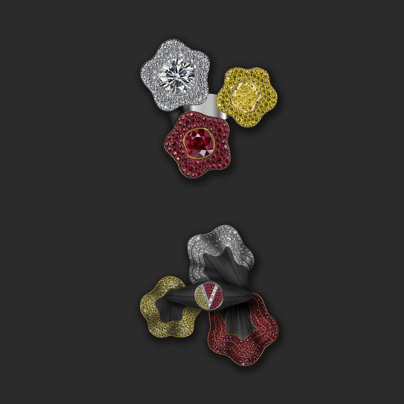 Maxim V Vivid Treasures ruby, white and yellow diamond ring