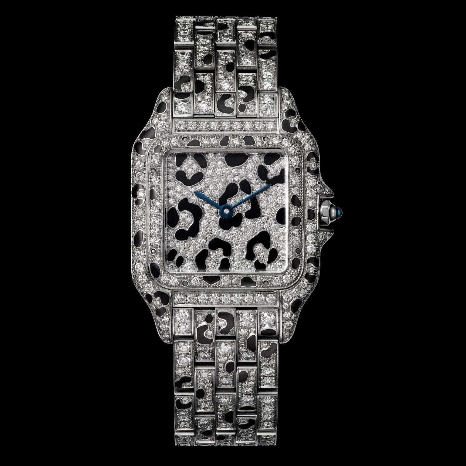 Panthère de Cartier in white gold with black enamel and diamonds