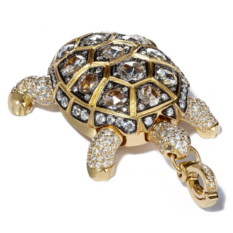 Annoushka Ducas gold turtle charm with diamonds