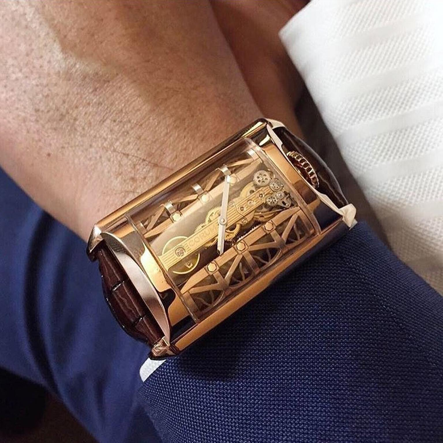 Corum Golden Bridge Stream watch on wrist