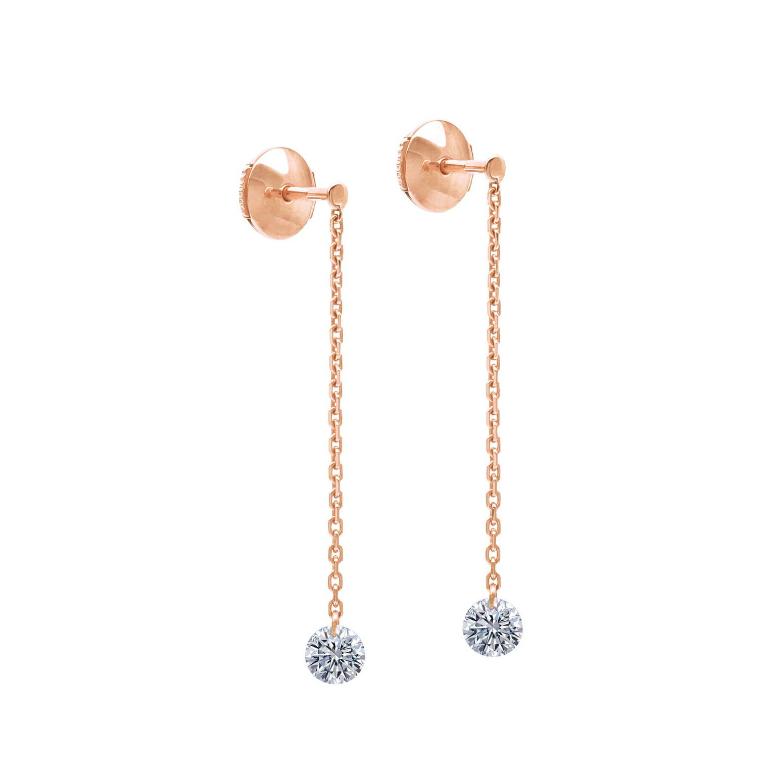 La Brune & La Blonde 360° pendant earrings with brilliant-cut diamonds in gold