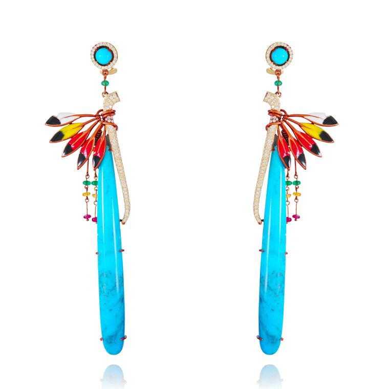 Lydia Courteille turquoise Peace Pipe earrings