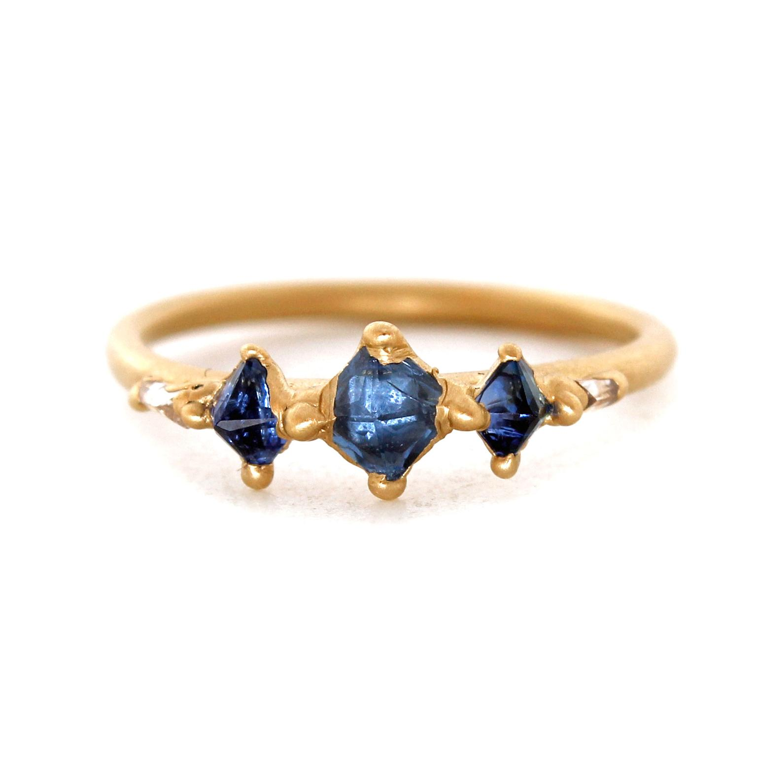 Polly Wales triple blue pyramid sapphire halo ring