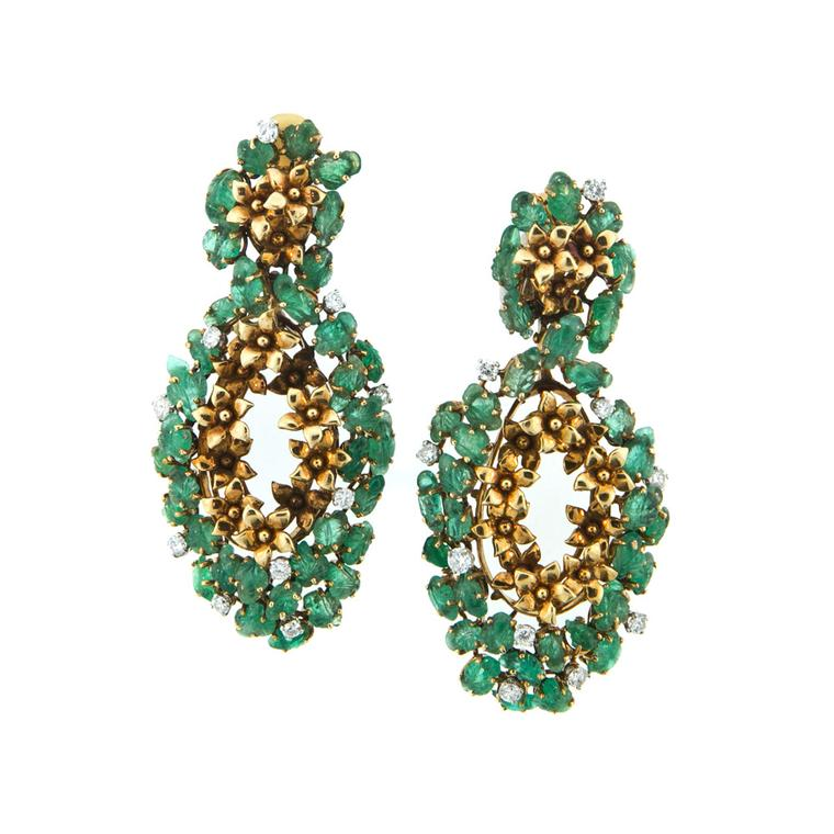 Antique emerald and diamond earrings