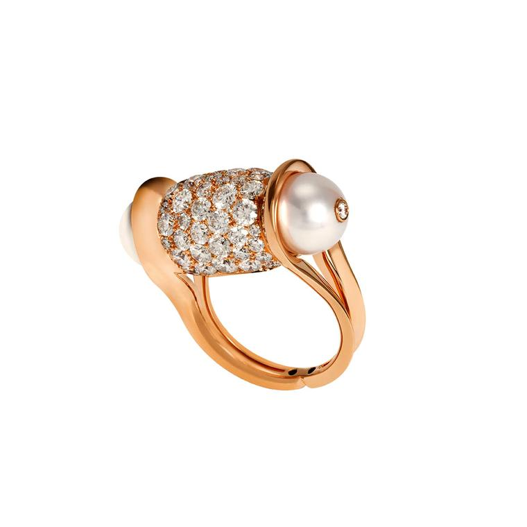 John Rubel Akoya pearl ring in rose gold