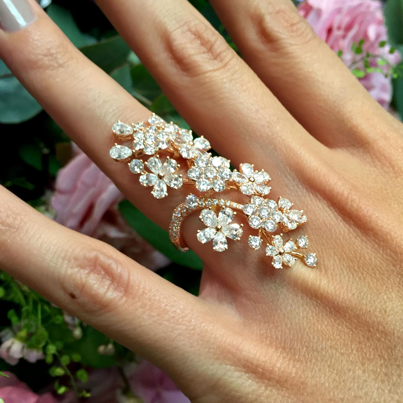 David Morris Cherry Blossom long finger ring on model