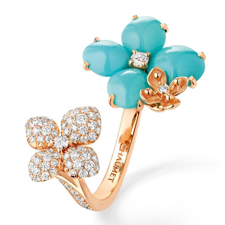 Chaumet Hortensia Eden turquoise and diamond open ring