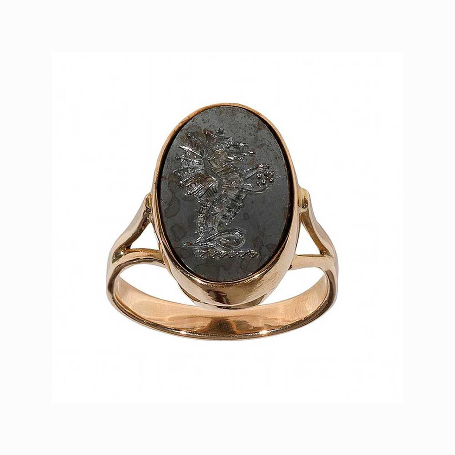 Bernardo Antique & Estate Jewelry gold and steel signet ring