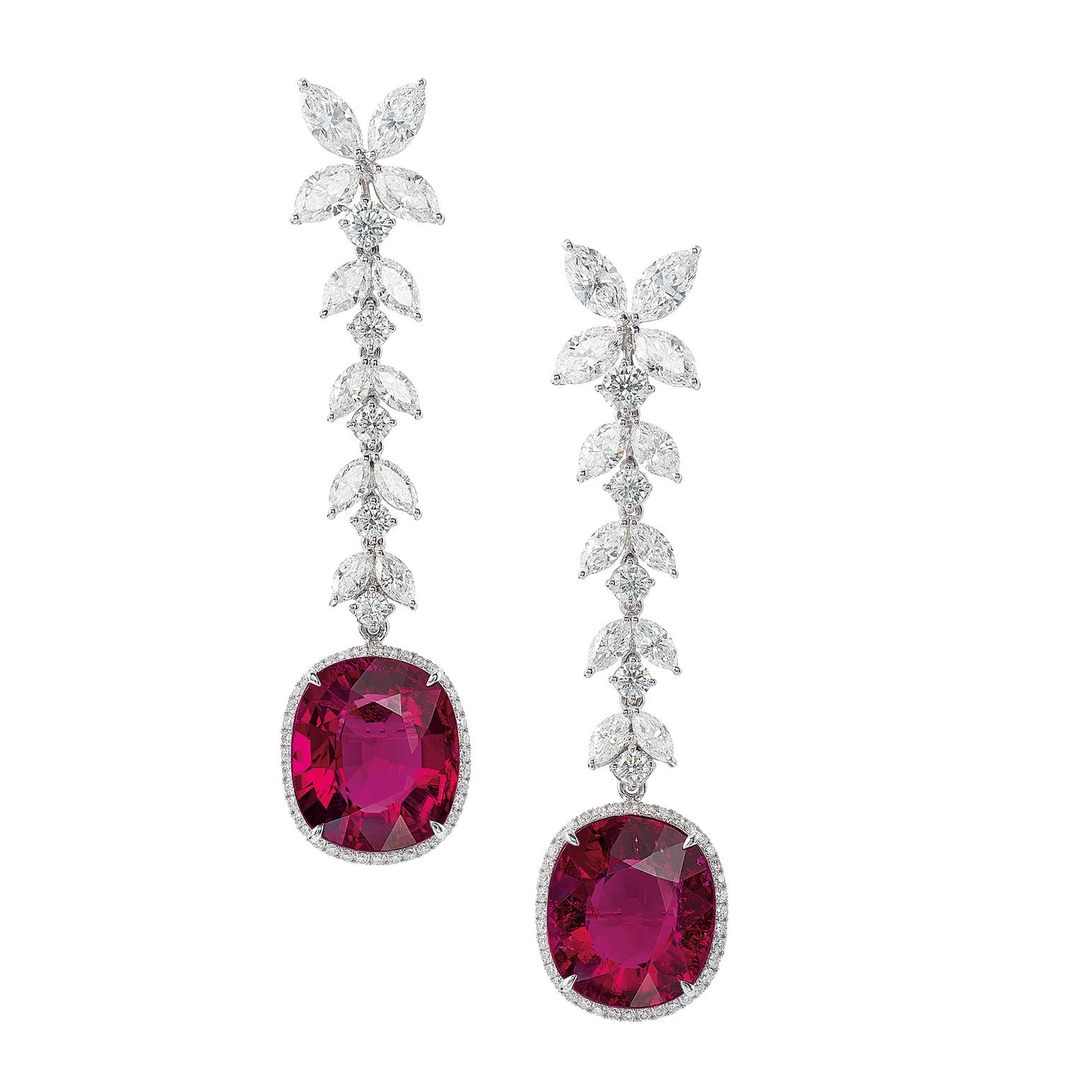 Lot 586 Tourmaline and diamonds earrings for Phillips auction