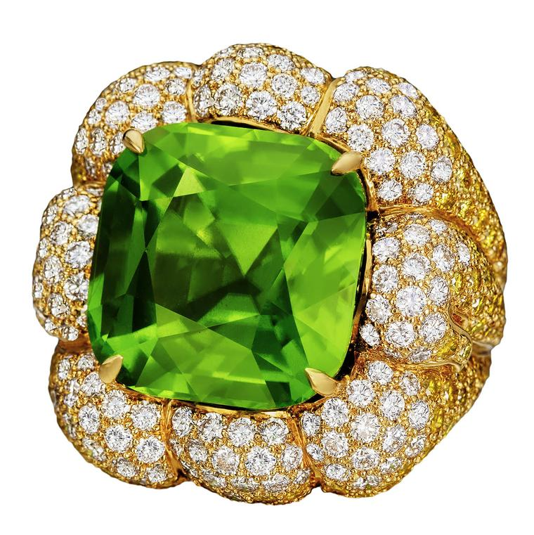 Margot McKinney Peridot & Diamond cocktail ring