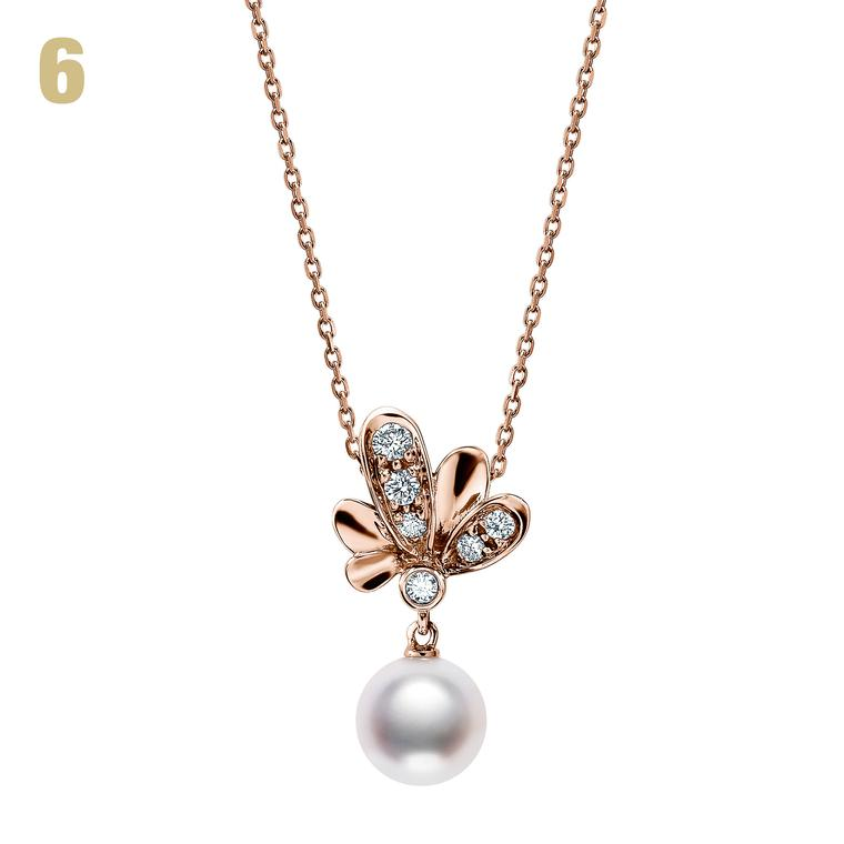 Mikimoto Dandelion diamond and pearl pendant