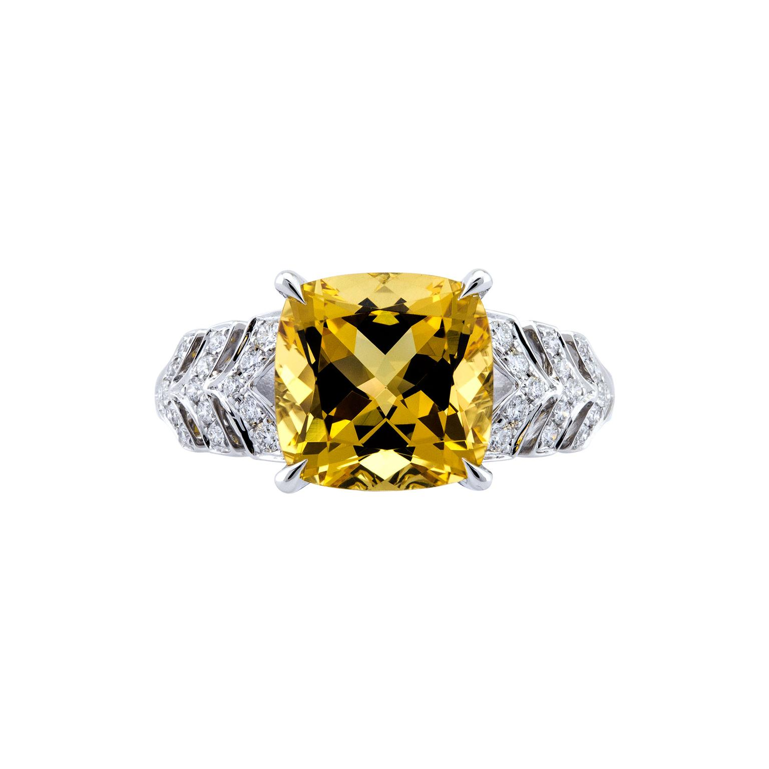 Boodles Prism yellow beryl ring with diamonds
