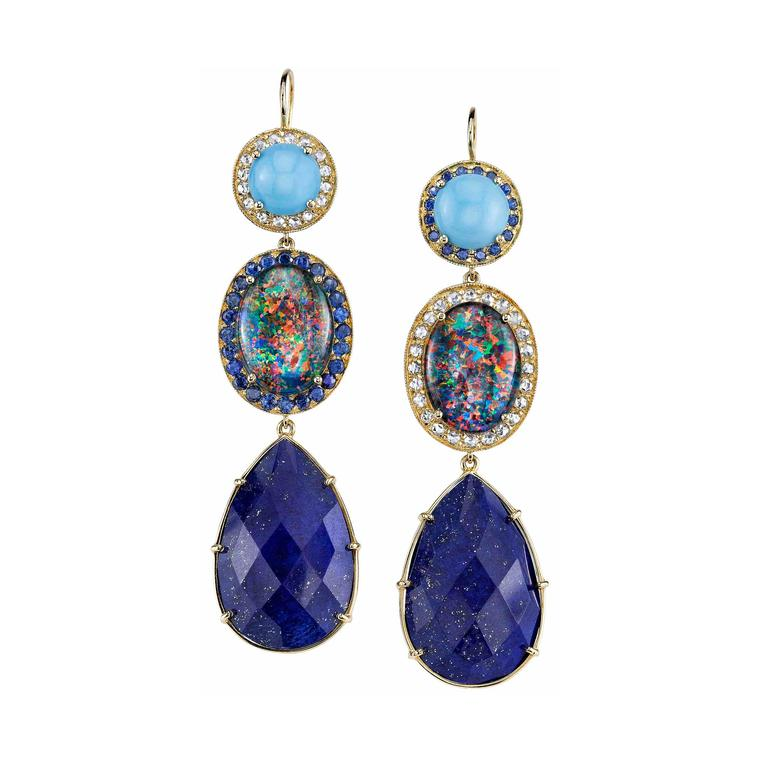 Andrea Fohrman lapis, opal, diamond, sapphire and turquoise earrings