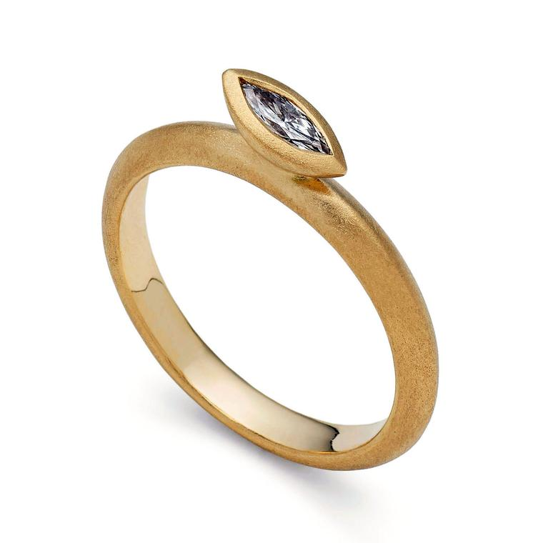 Victoria Walker yellow gold and marquise-cut diamond engagement ring