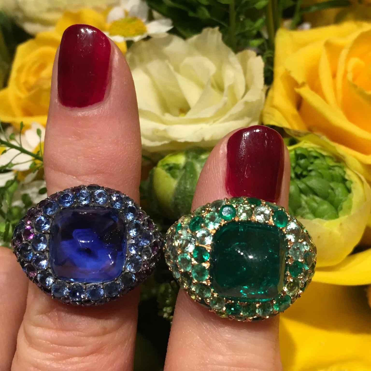 Sapphire and emerald rings by JAR estimate: $45,000 – 55,000 each