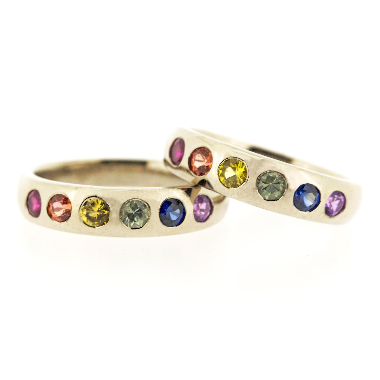 Baroque Brighton rainbow ring set with sapphires