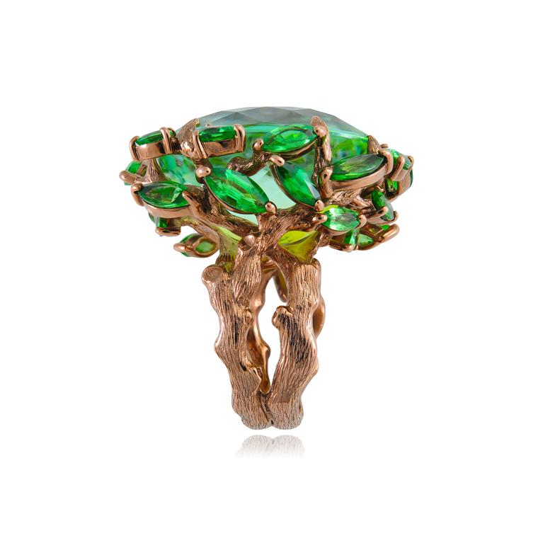 Lydia Courteille Queen of Sheba green tourmaline and tsavorite ring