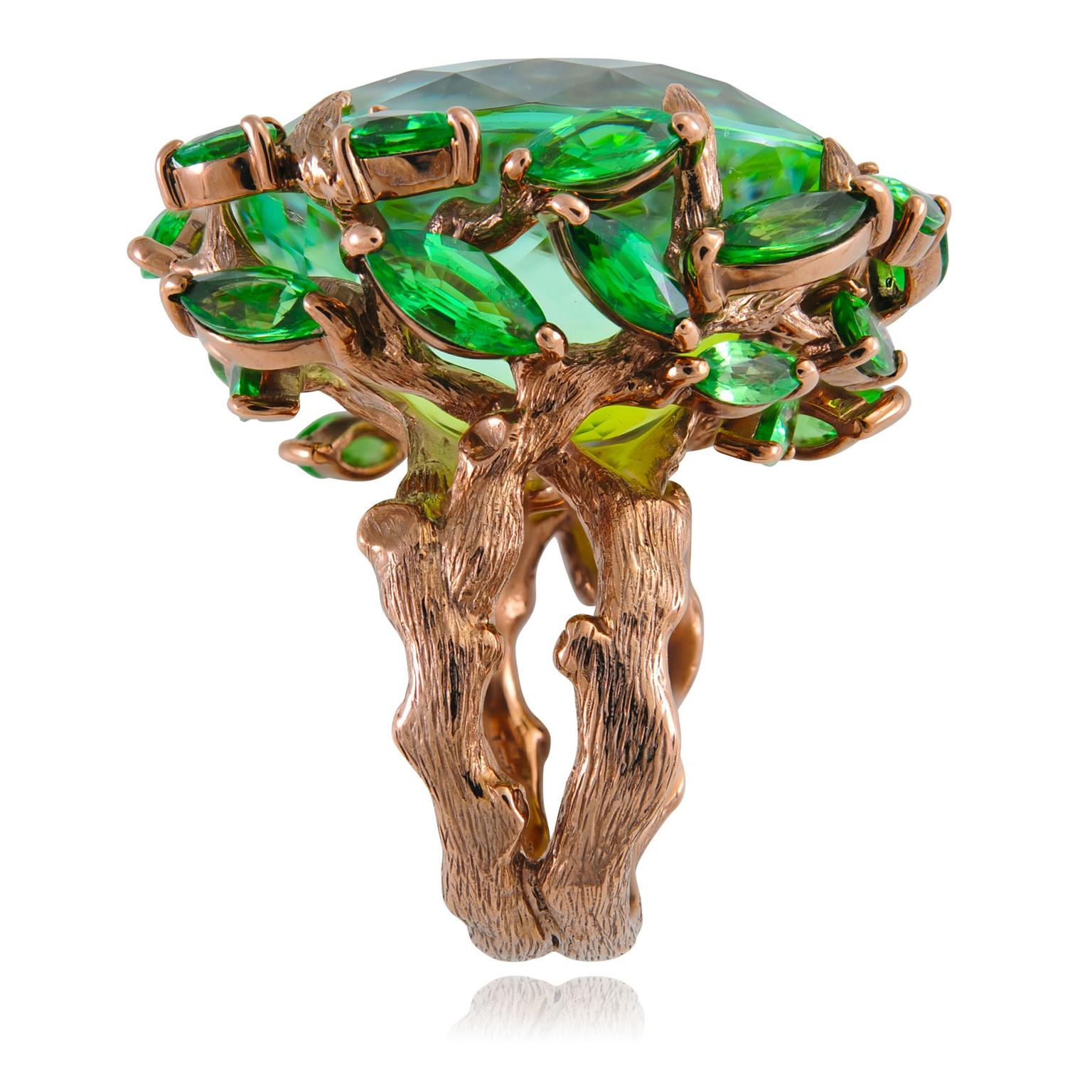 Lydia Courteille Queen of Sheba tourmaline and tsavorite ring