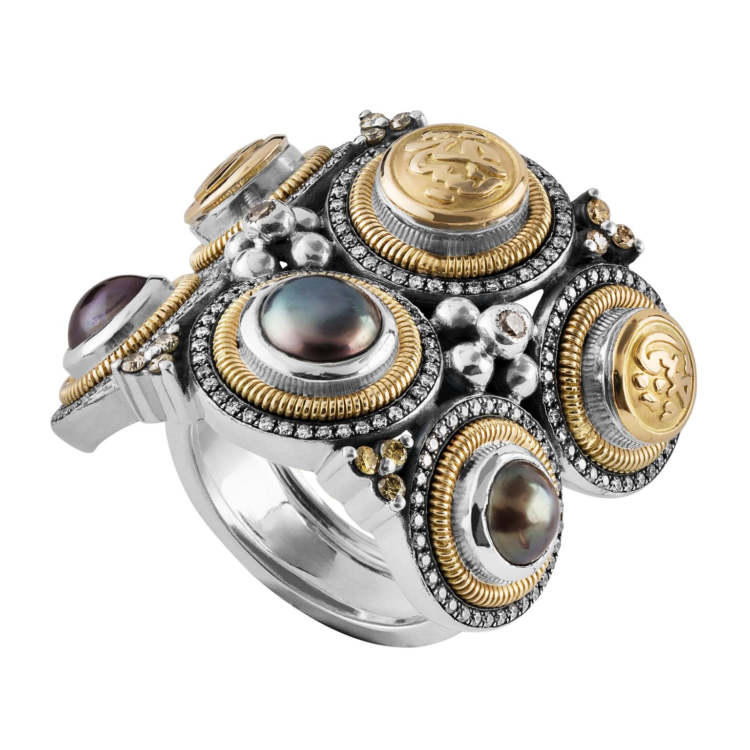 Azza Fahmy Wonders of Nature Indian inspired tribal ring with grey pearls and diamonds