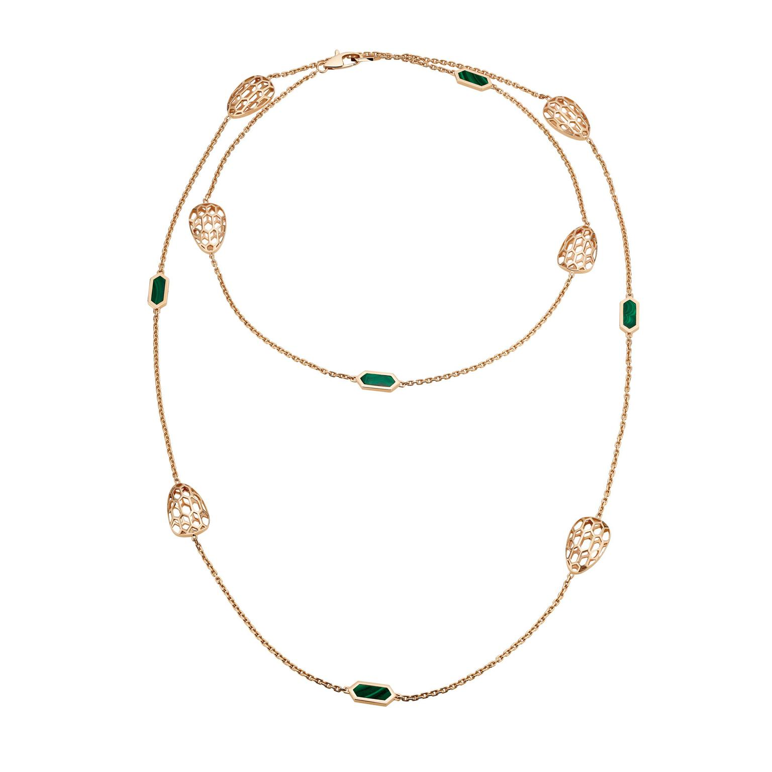 Bulgari Serpenti Seduttori sautoir necklace in rose gold with malachites