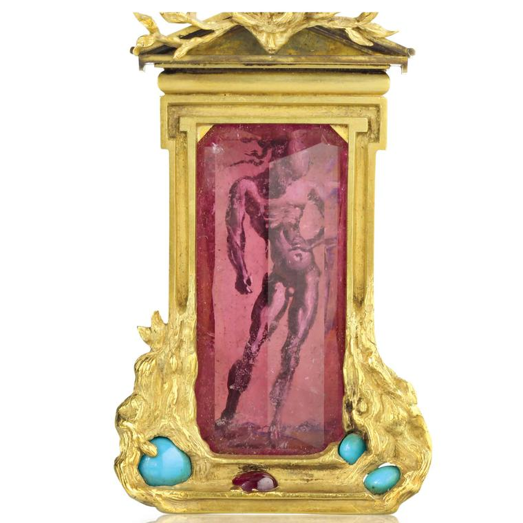 Apollo and Daphne Brooch, Dali and Verdura, 1941,  Tourmaline, gold, ruby, turquoise, and ivory
