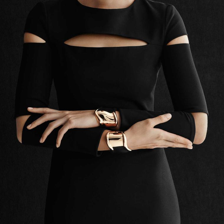 Elsa Peretti for Tiffany model wearing Bone cuffs