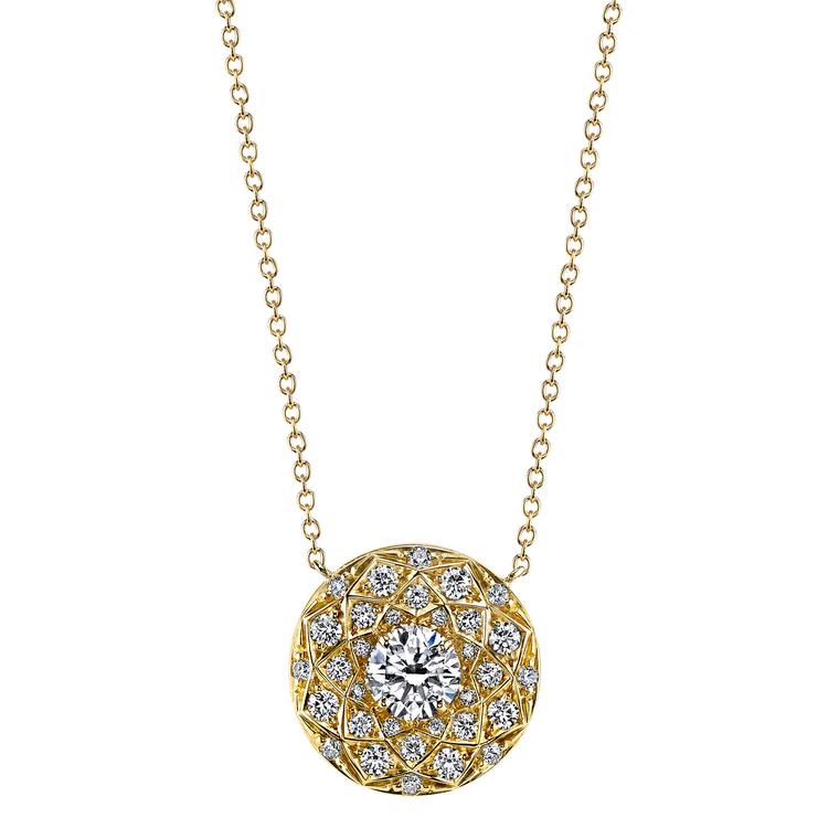 Harry Kotlar Bloom round diamond solitaire necklace