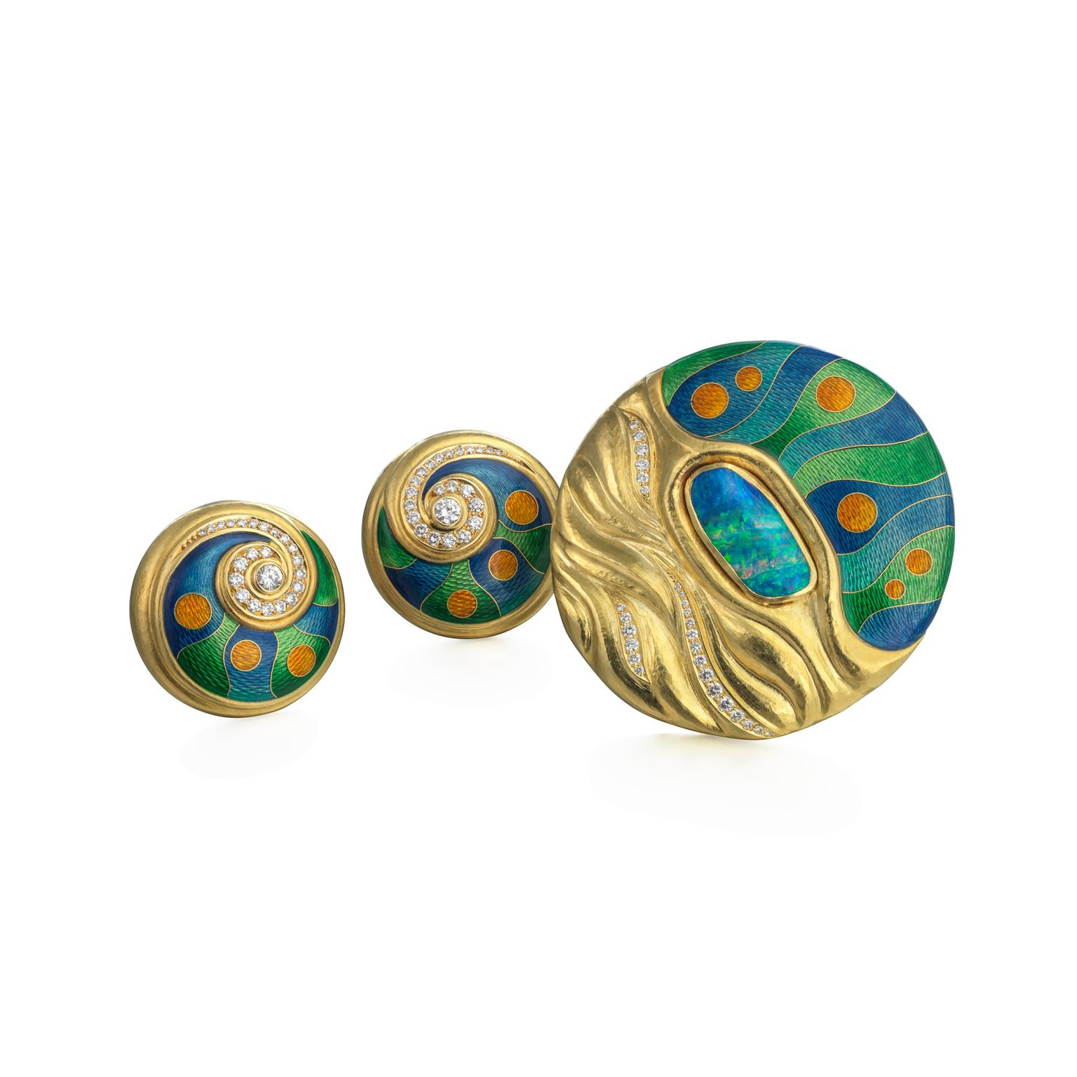 De Vroomen enamel brooch and earclips