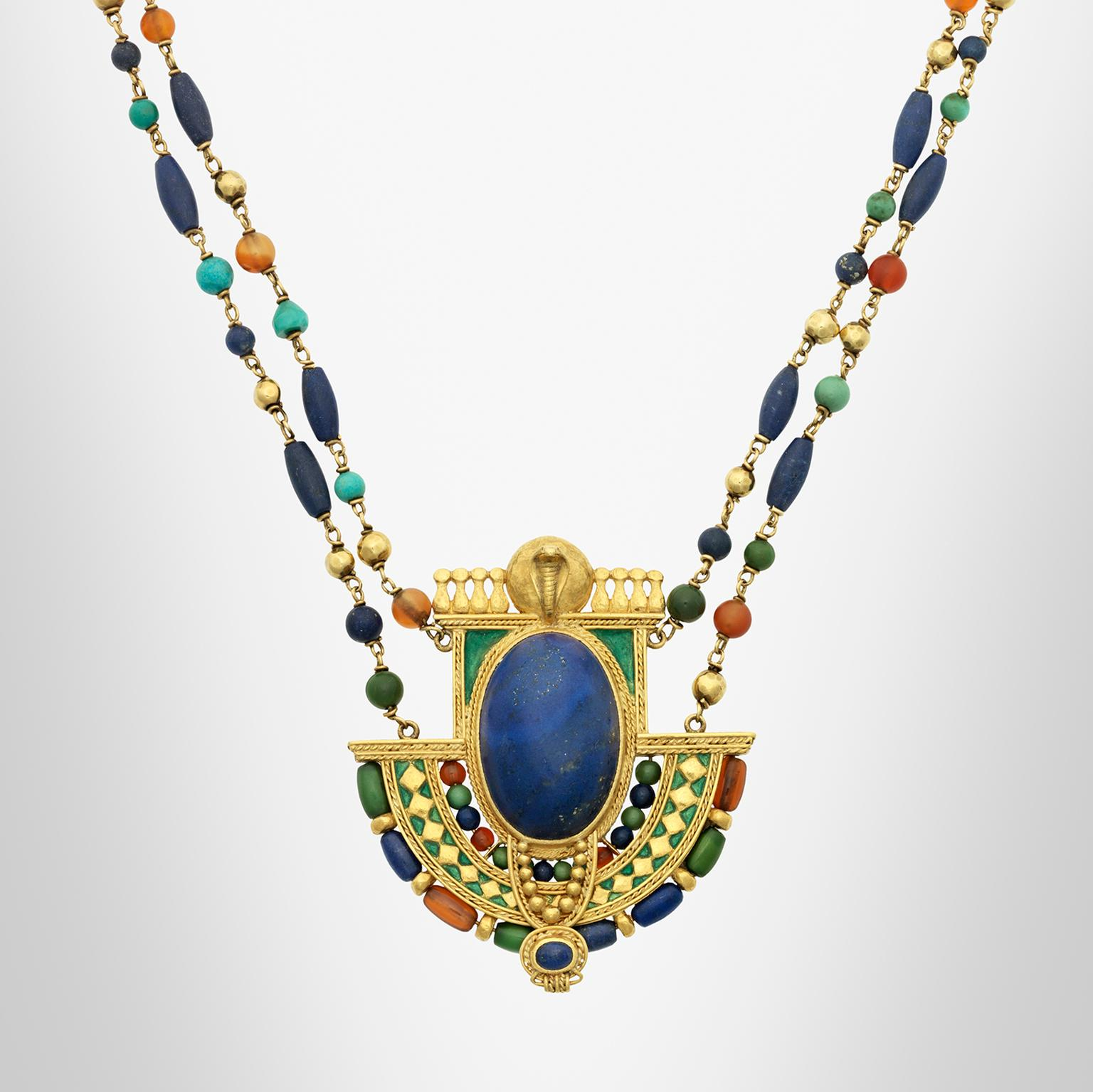 Egyptian revival necklace from 1913, designed by Louis Comfort Tiffany