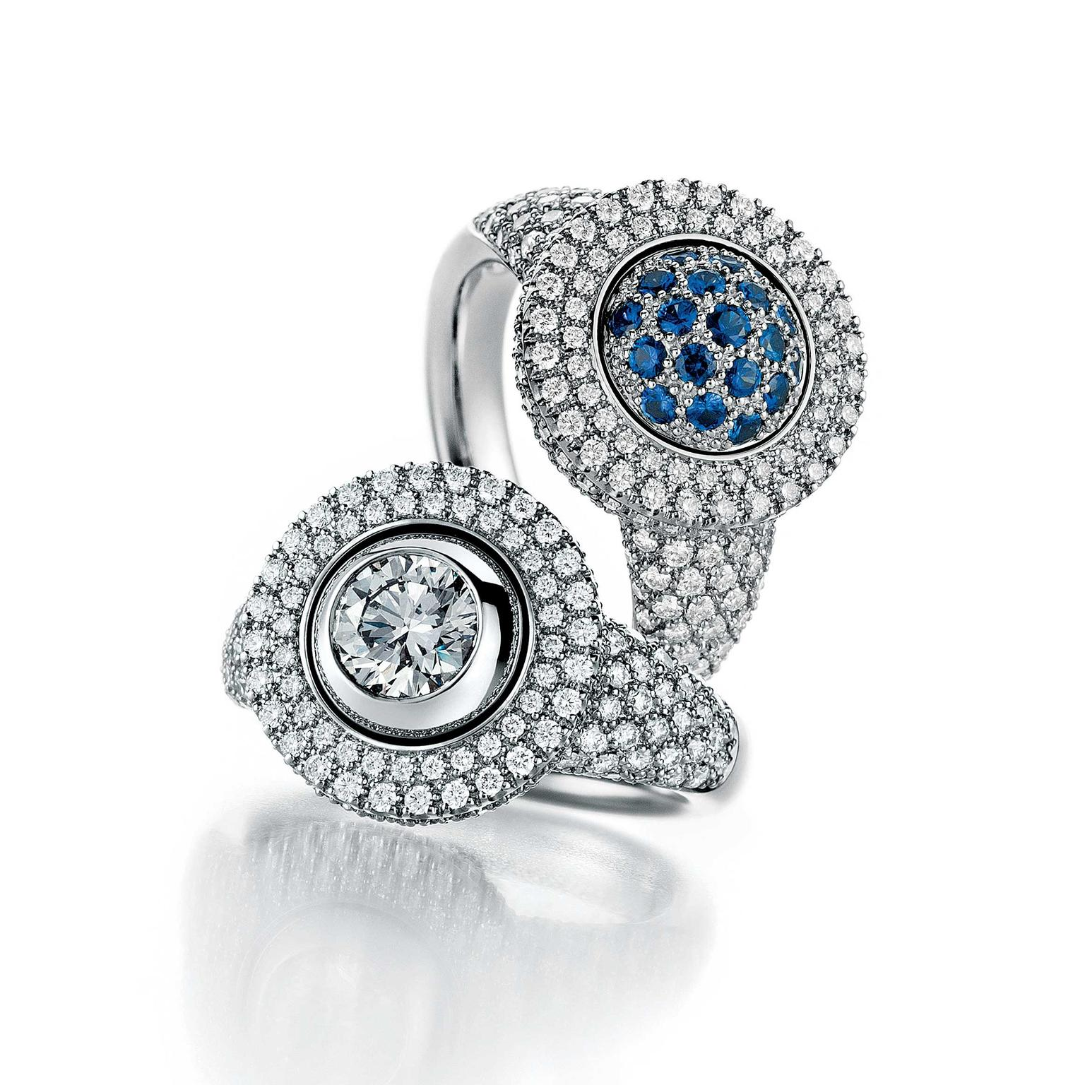 Jorg Heinz diamond and sapphire rings