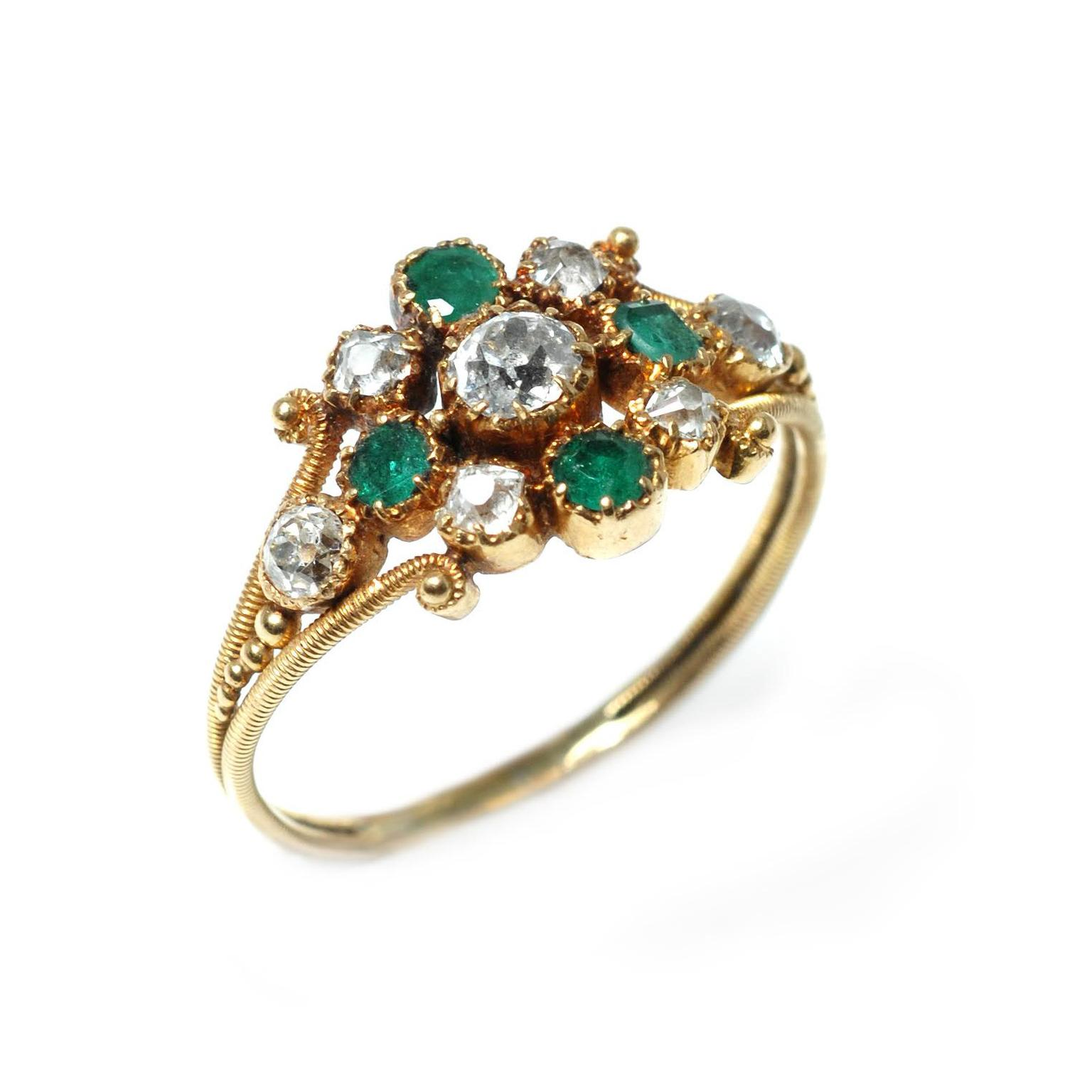 Trivette Georgian emerald and diamond cluster ring