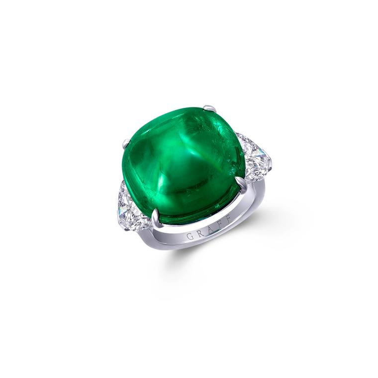 Graff emerald cabochon and diamond ring