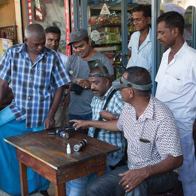 Trading at the gem market in Sri Lanka