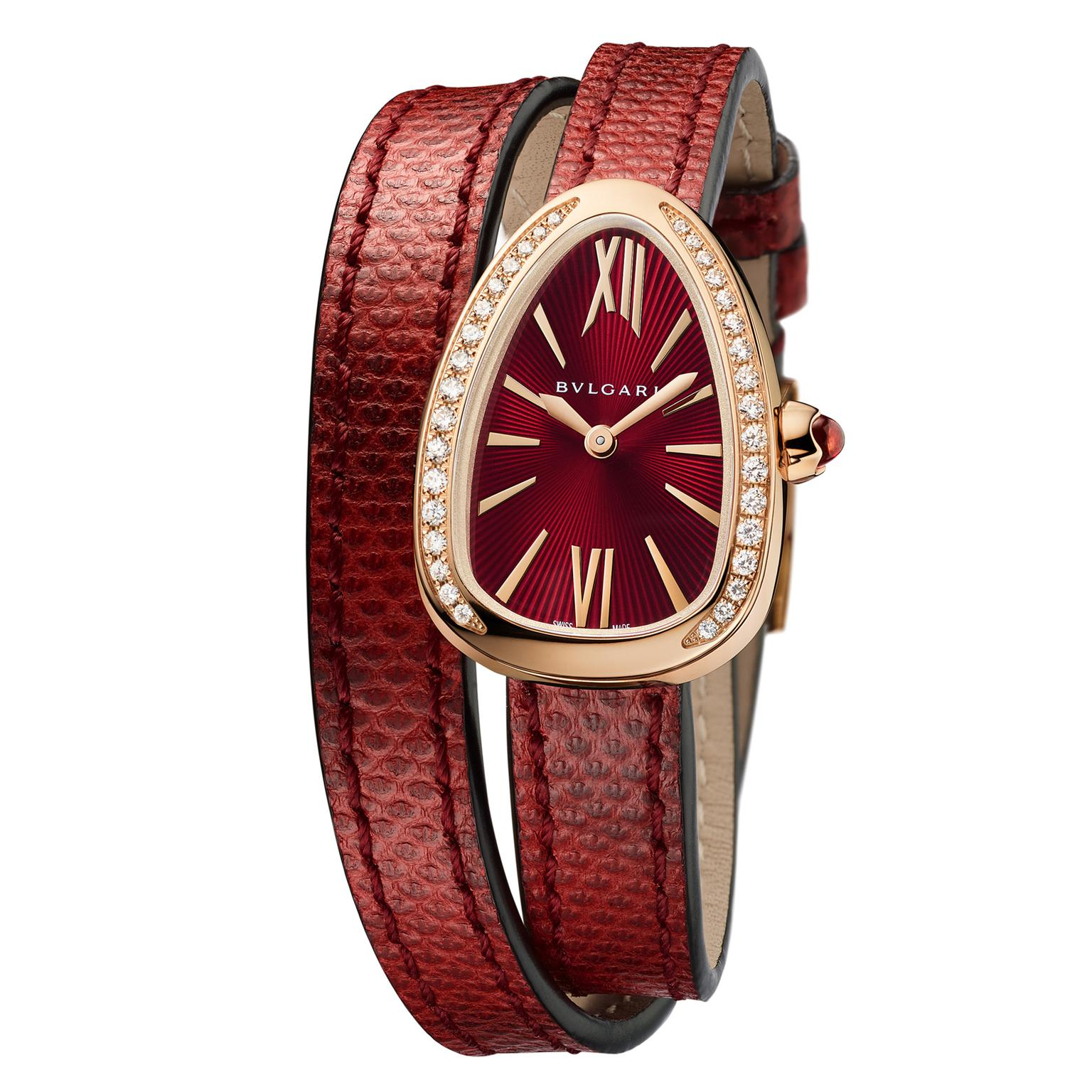 Bulgari Serpenti watch in rose gold with red dial and diamonds