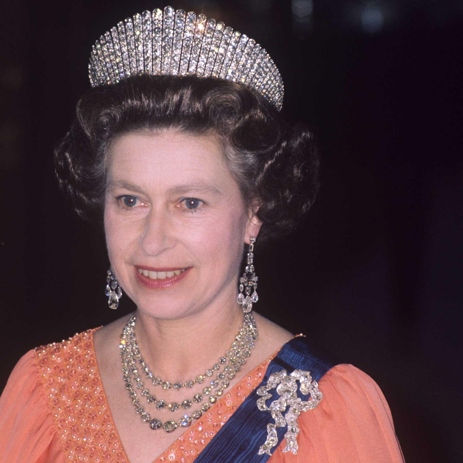The Queen wearing the Russian Kokoshnik Tiara and Queen Mary Lover's Knot bow brooch