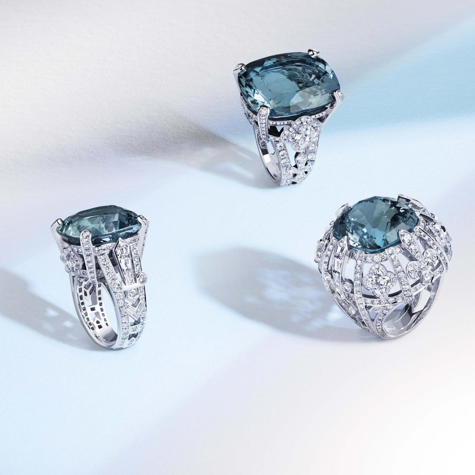 uis Vuitton Riders of the Knights La Reine diamond and aquamarine rings