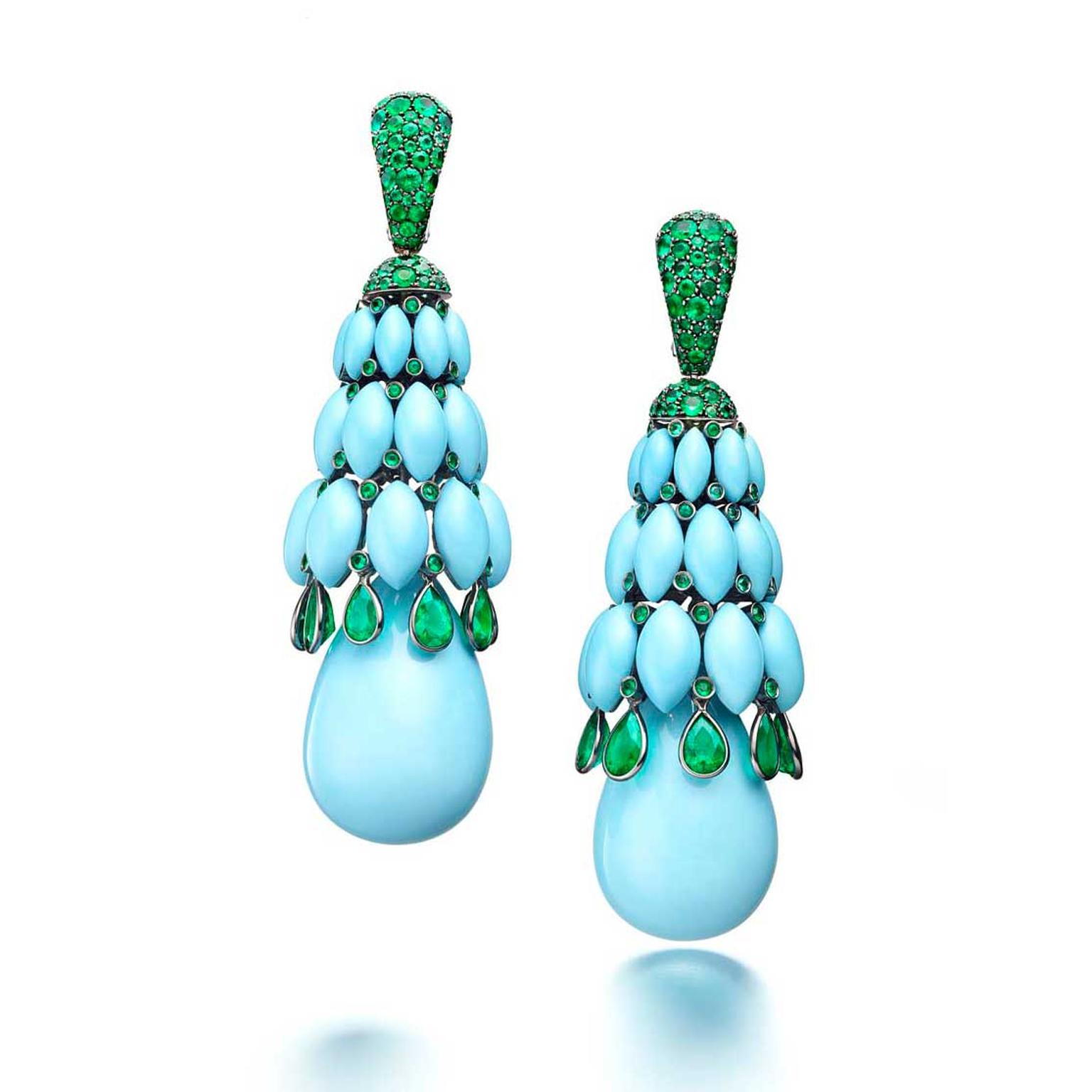 de GRISOGONO Melody of Colours earrings in white gold with turquoise and emeralds