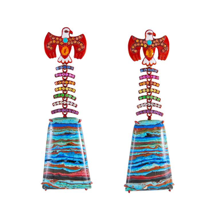 Lydia Courteille Rainbow Warrior Thunderbird earrings