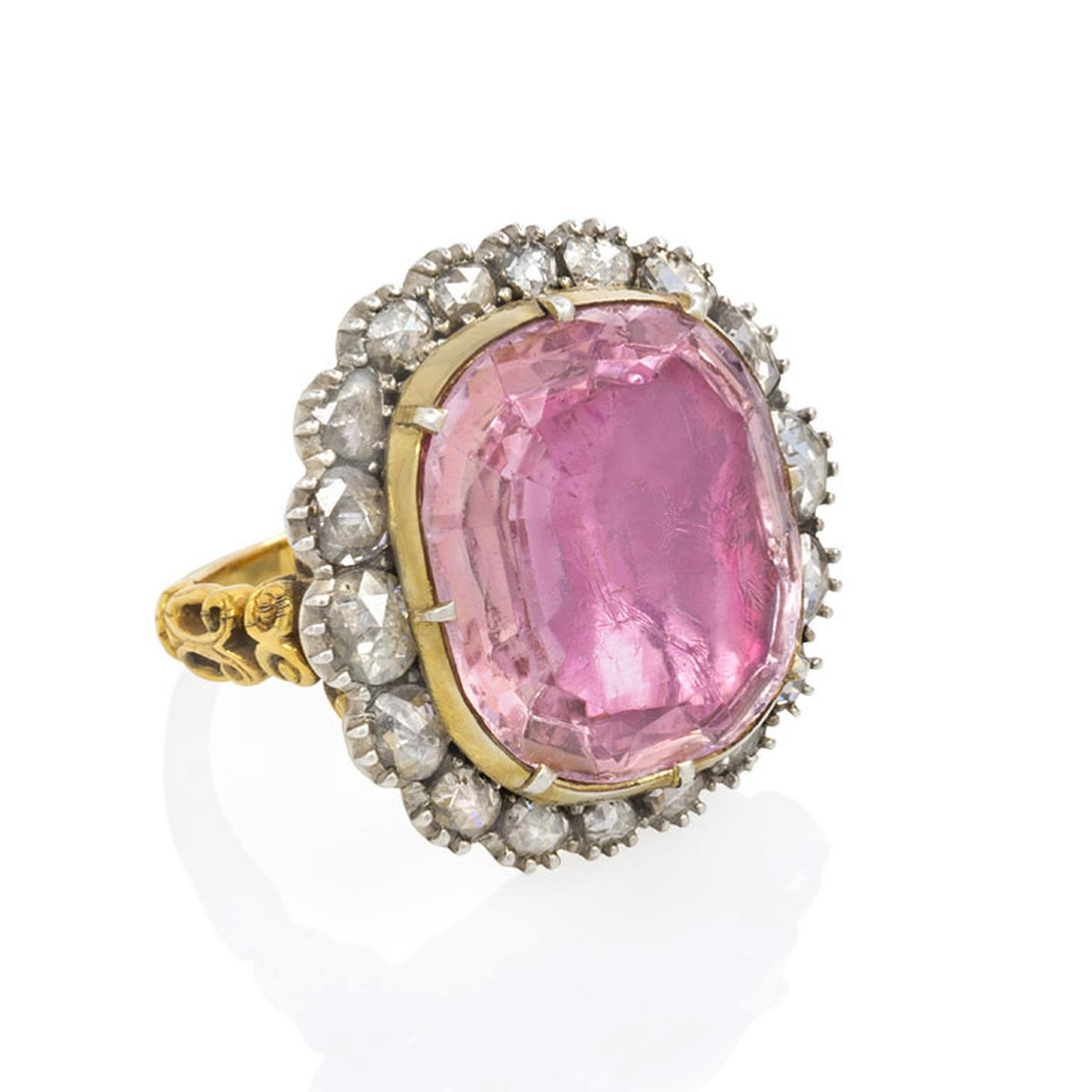 Kentshire antique cushion-cut, foiled pink topaz ring