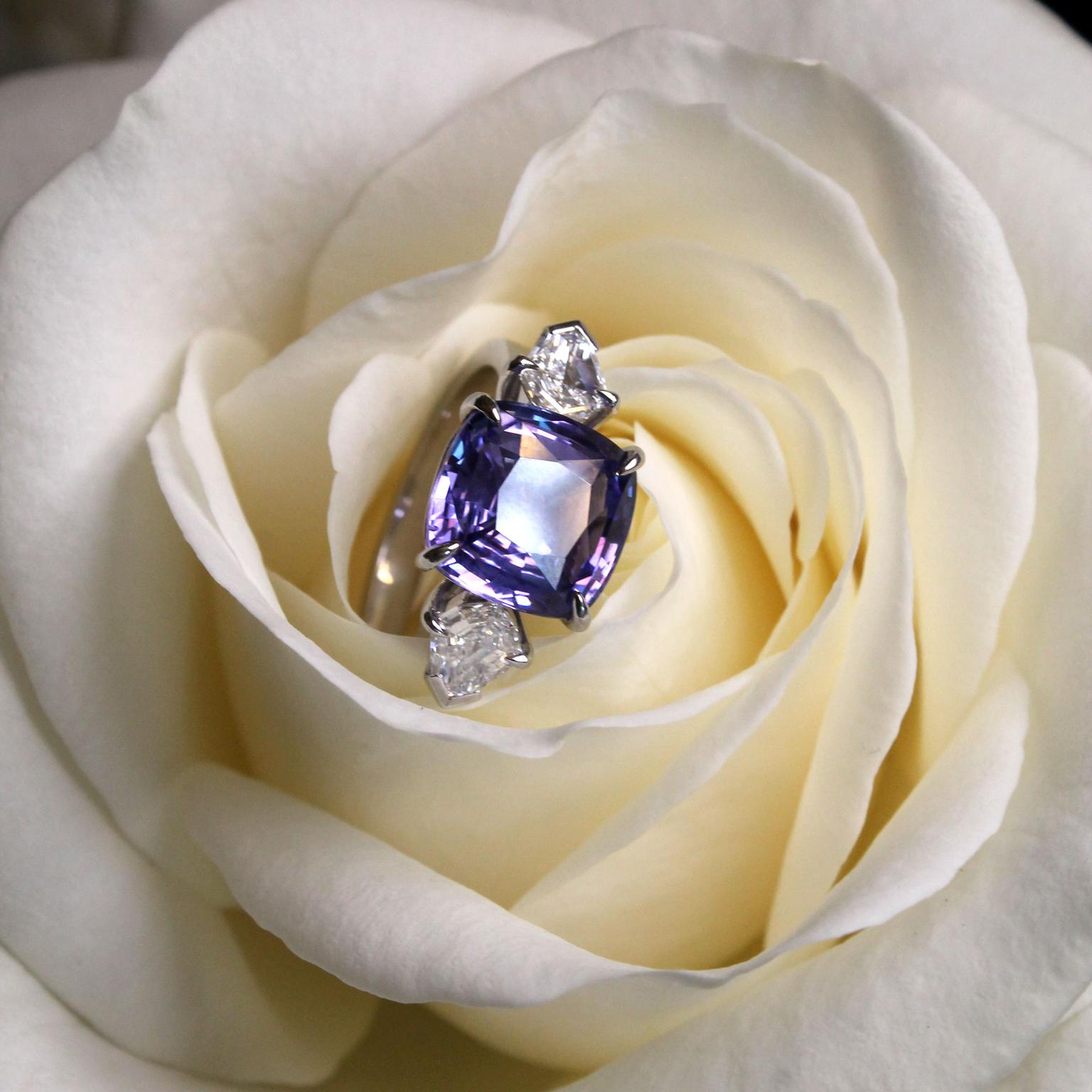 Hirsh Trio lavender sapphire and diamond engagement ring in rose