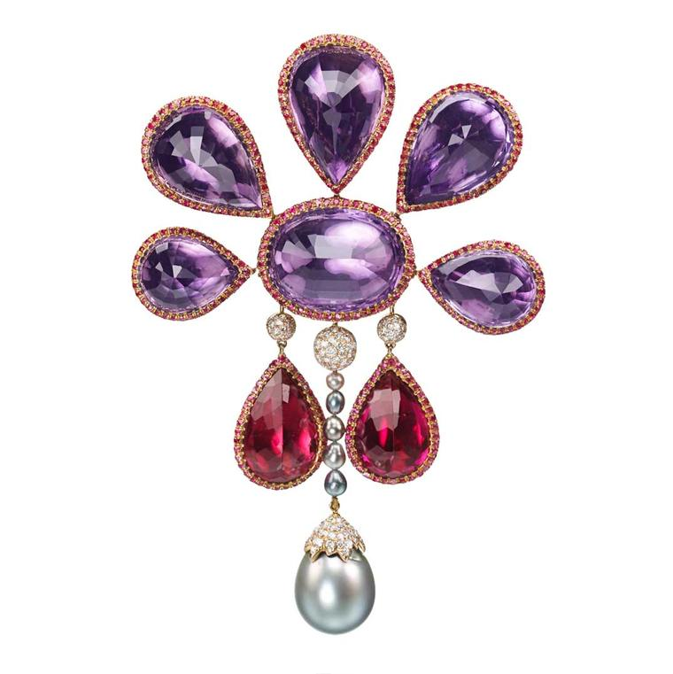 Amethyst and rubellite Medici brooch