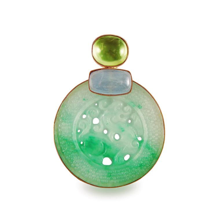 Corrado Giuspino hand-carved jade pendant with milky aquamarine and prehnite