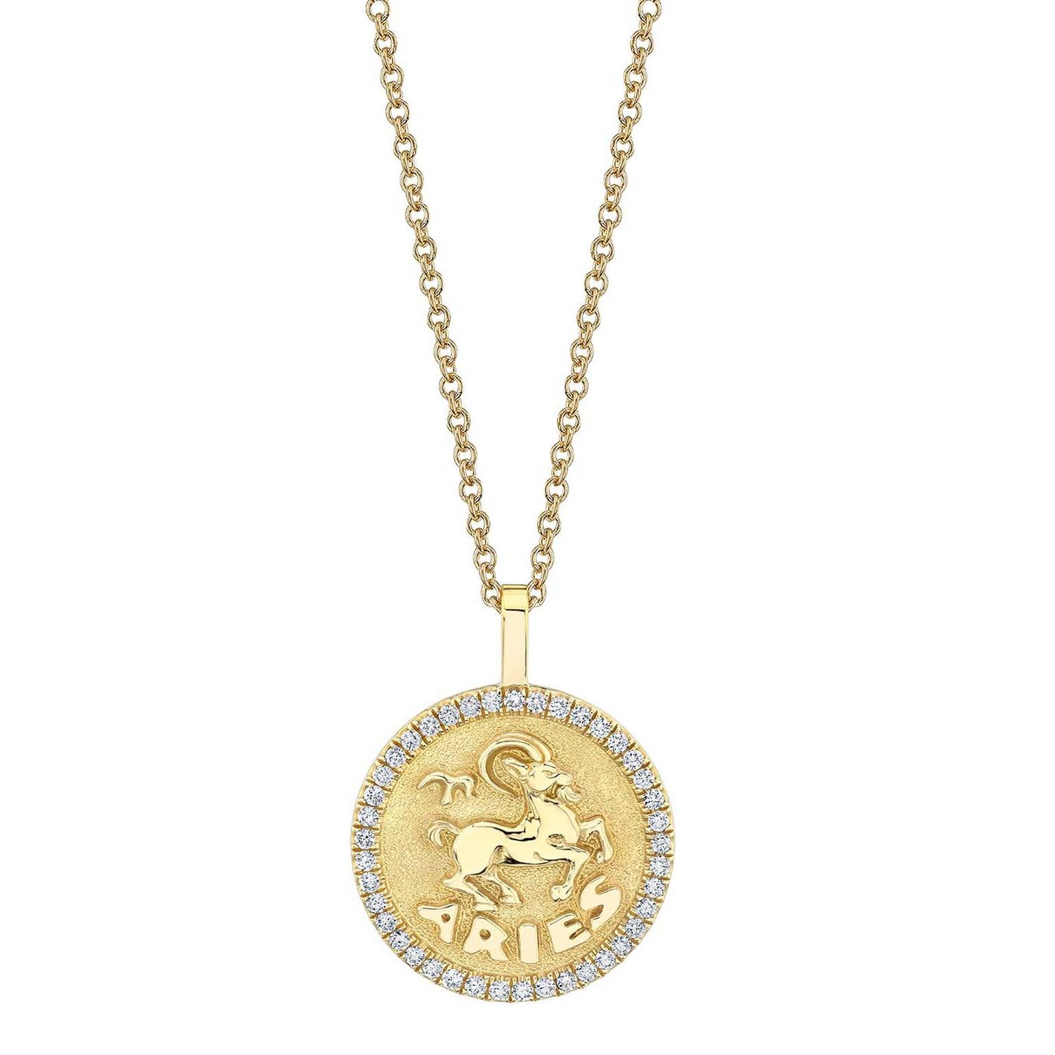 Anita Ko Zodiac coin medallion necklace