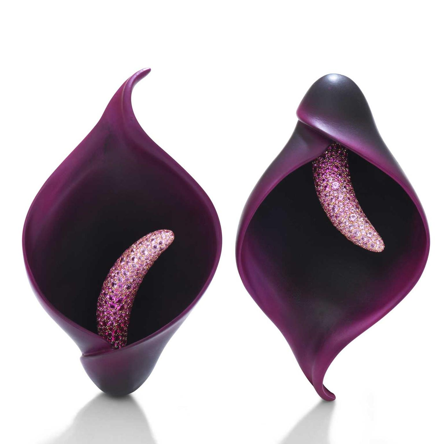 Emmanuel Tarpin violet Arum lily flower earrings