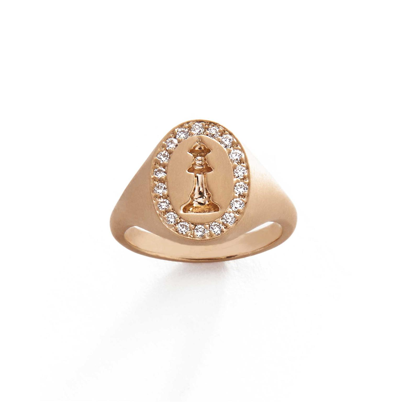 Michelle Fantaci Checkmate pinky ring with diamonds