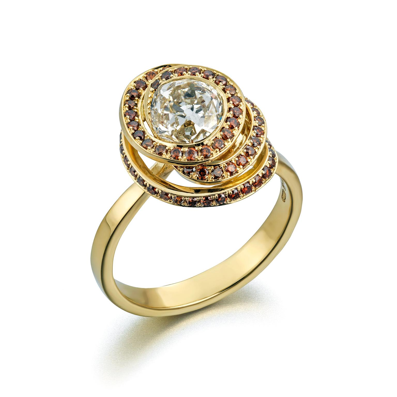 Amanda Mansell 18ct gold ring with cognac diamonds