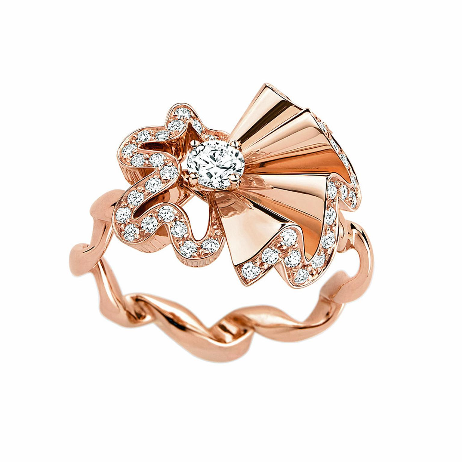 Archi Dior Cocotte Bague rose gold and diamond ring