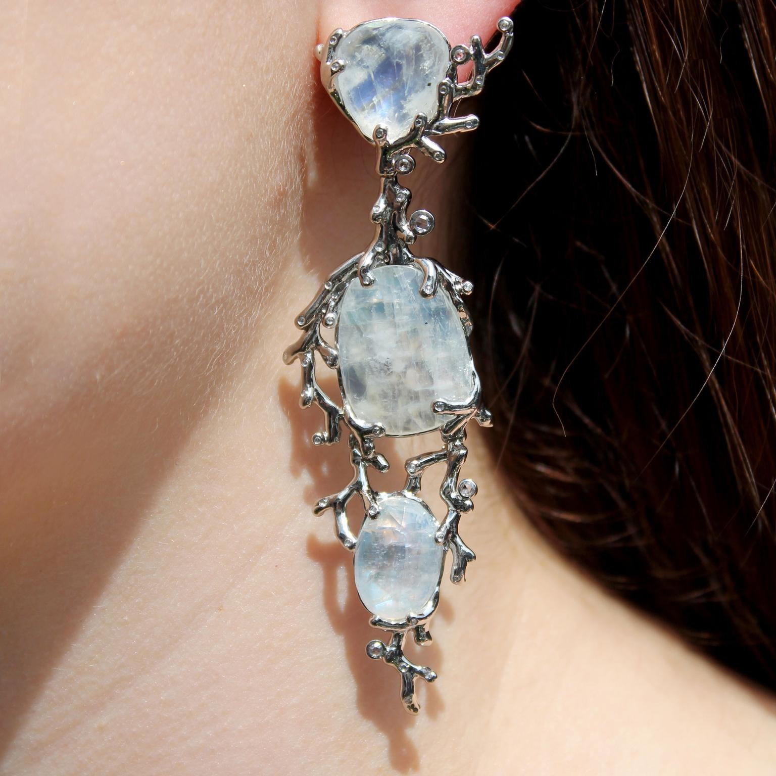 Aenea Alaria rainbow moonstone earrings
