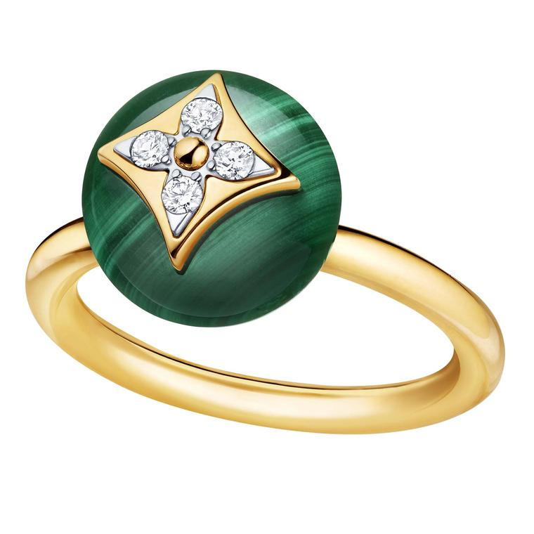 Louis Vuitton B.Blossom yellow gold ring in malachite