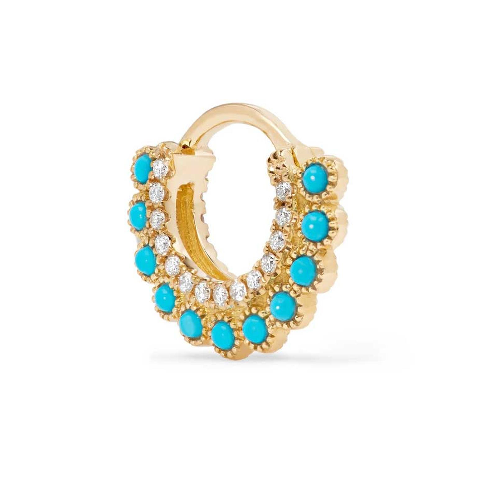 Maria Tash single turquoise opal and diamond huggie